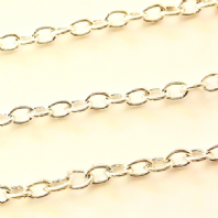 1M Sterling Silver Plated Cable Chain 4.5x6mm